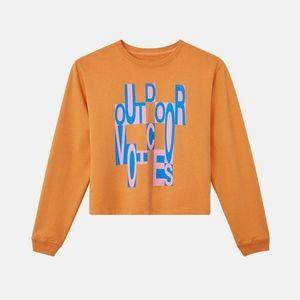 OUTDOOR VOICES orange fun logo sweatshirt cozy